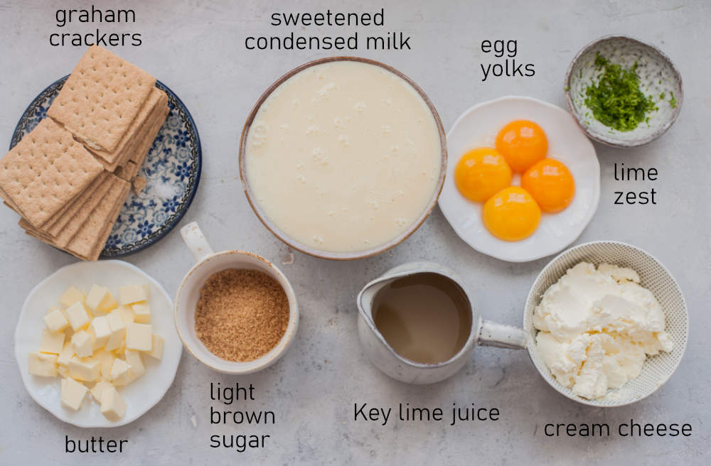 Labeled ingredients for Key lime pie bars.