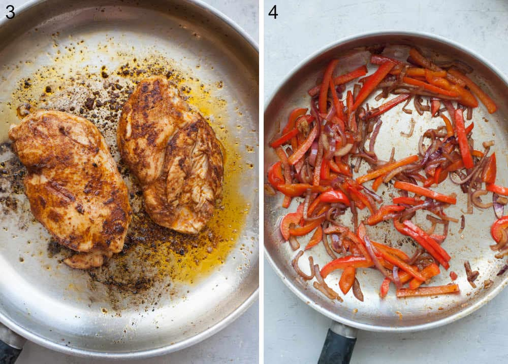 Cooked chicken in a pan. Cooked red pepper and red onion in a pan.