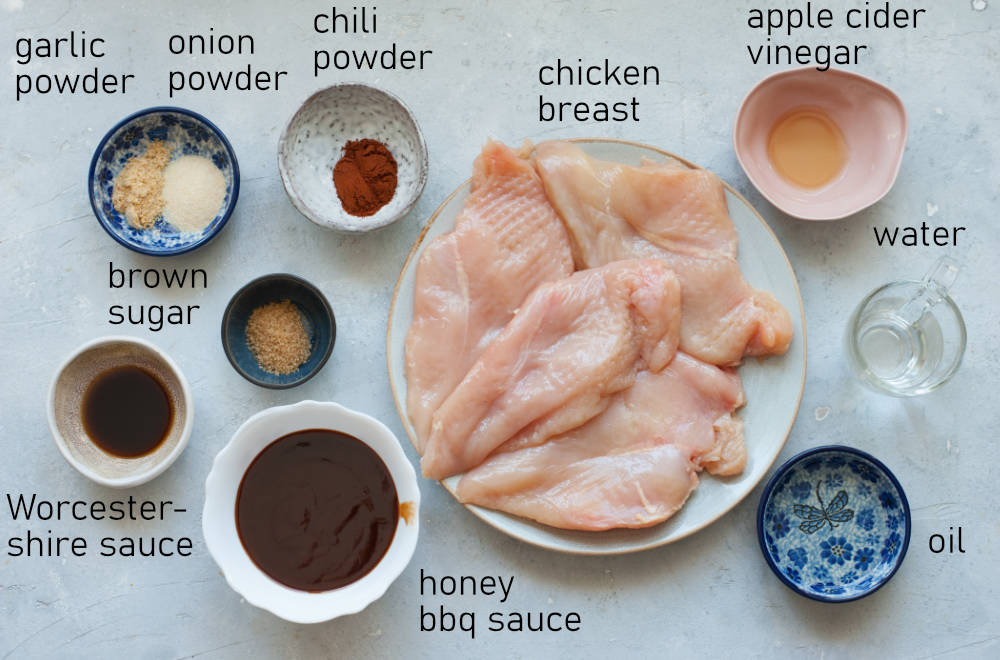 Labeled ingredients for bbq pulled chicken.