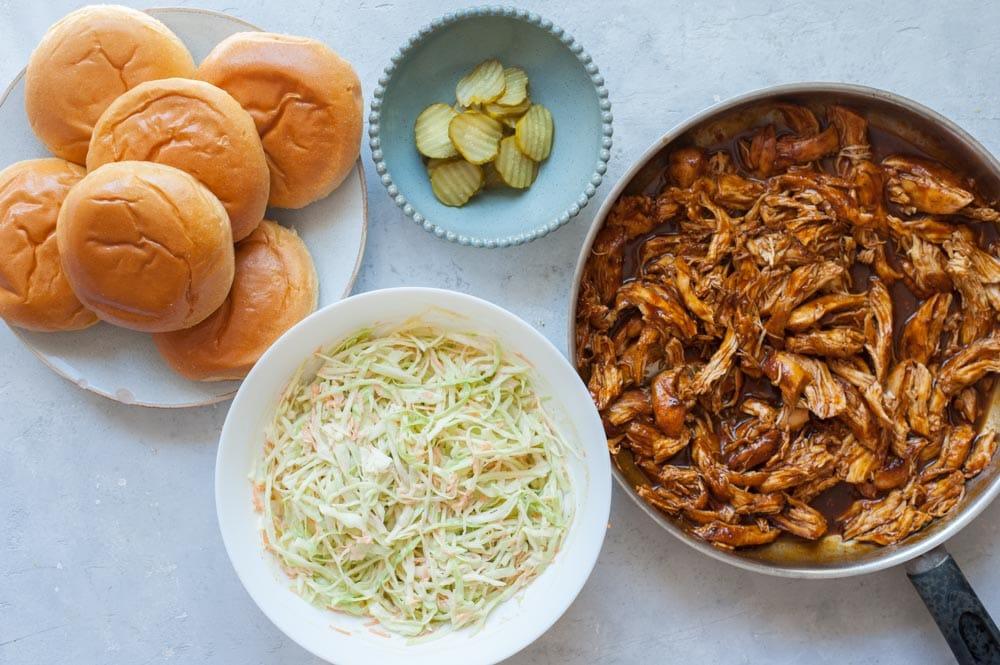 Ingredients for BBQ Pulled Chicken Sandwich.