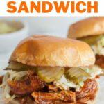 BBQ pulled chicken sandwich pinnable image.