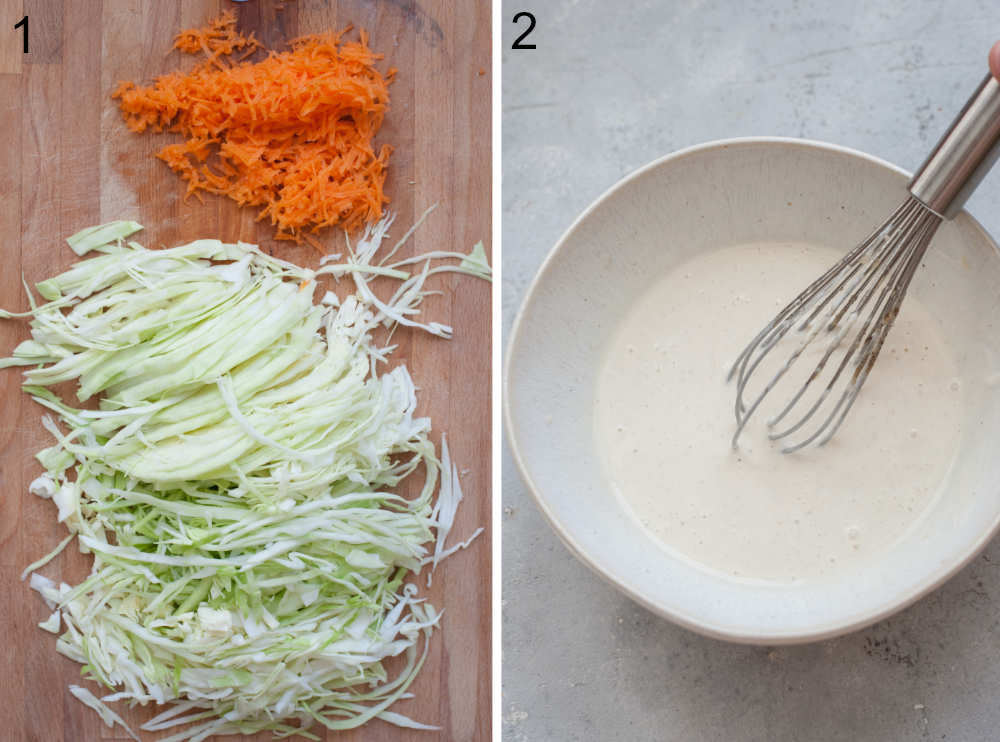 Shredded cabbage and carrot on a chopping board. Coleslaw dressing in a white bowl.