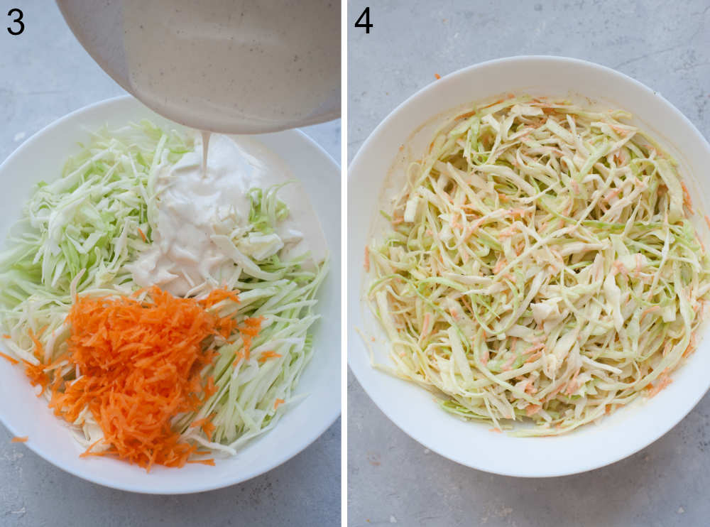 Coleslaw dressing is being poured over coleslaw and carrots in a bowl. Coleslaw in a white bowl.