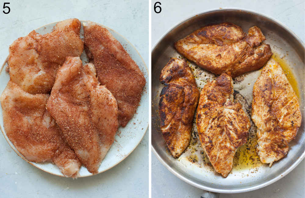 Chicken breasts with spices on a plate. Seared chicken breasts in a pan.