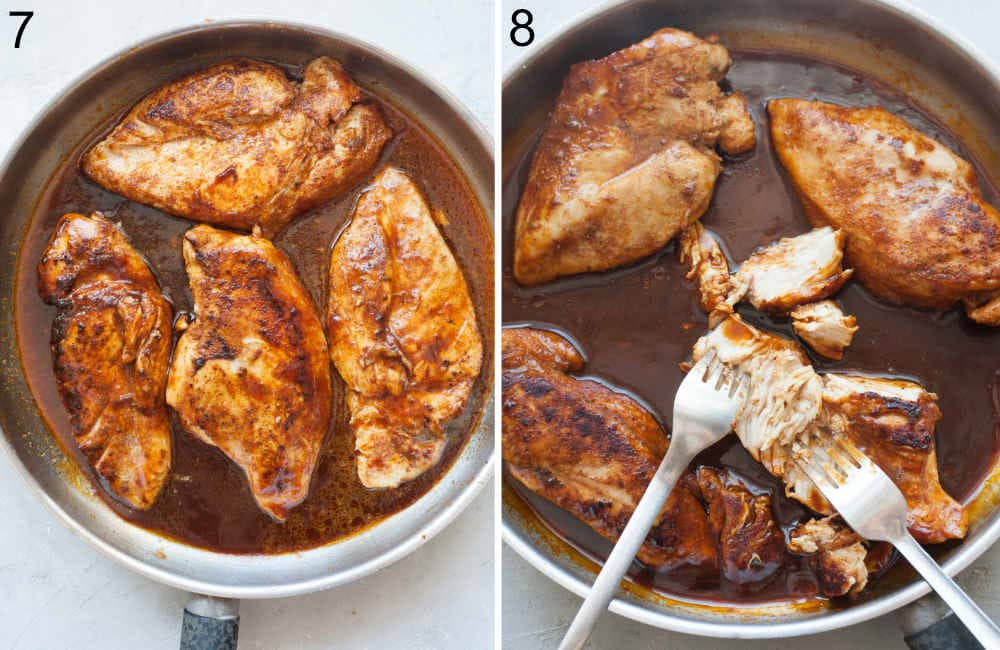 Cooked bbq chicken breasts in a pan. Chicken breast in a pan is being shredded with two forks.