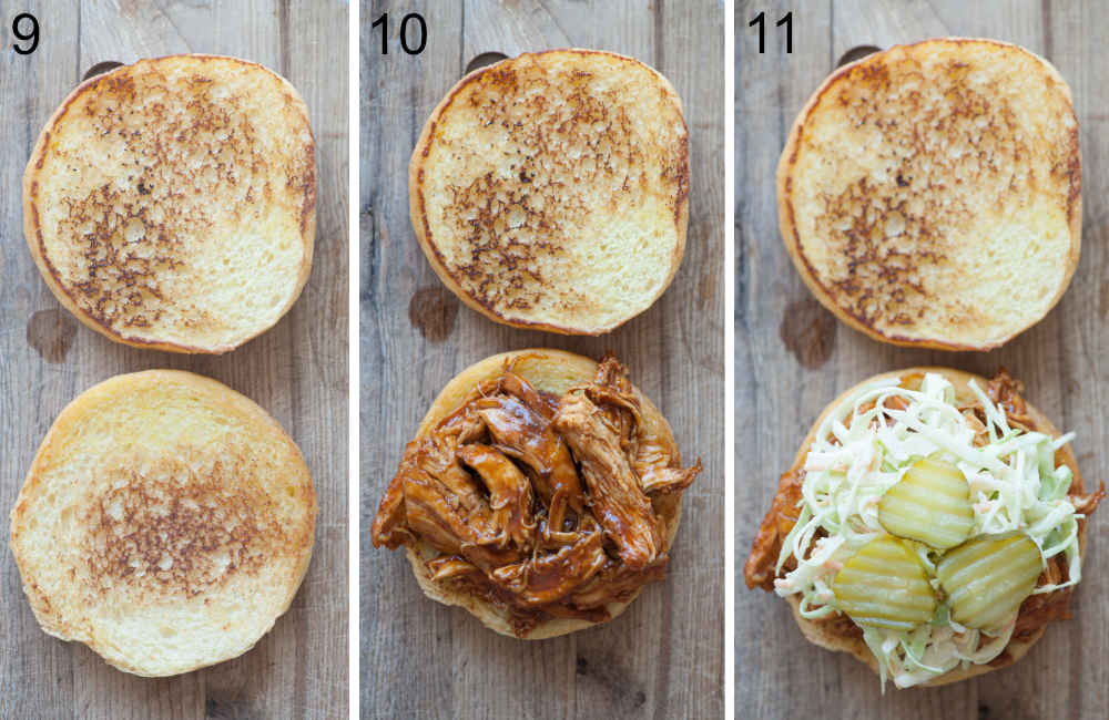A collage of 3 photos showing assembling steps of bbq pulled chicken sandwich.
