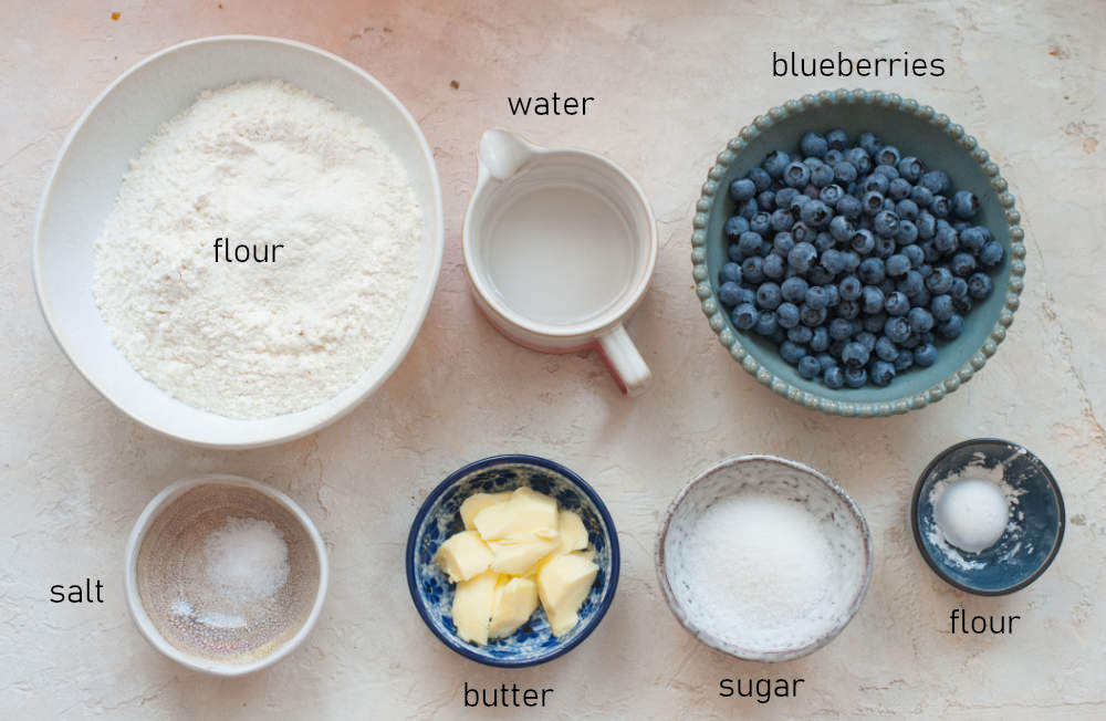 Labeled ingredients for blueberry pierogi.