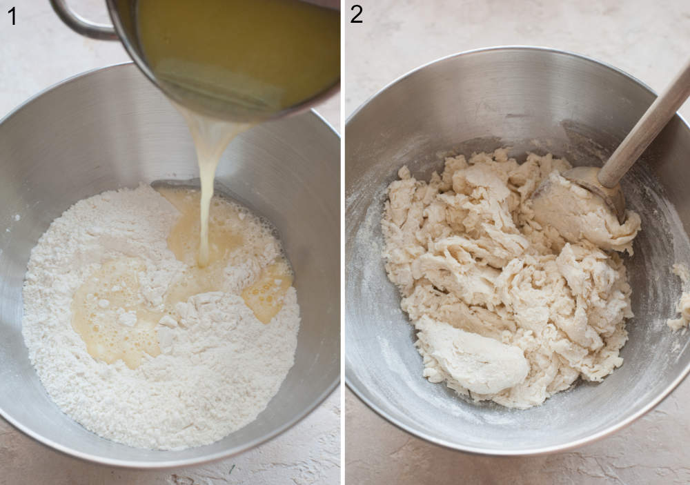 Butter and water are being added to flour in a bowl. Dough is being stirred with a spoon.