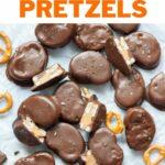 Chocolate peanut butter pretzels pinnable image.