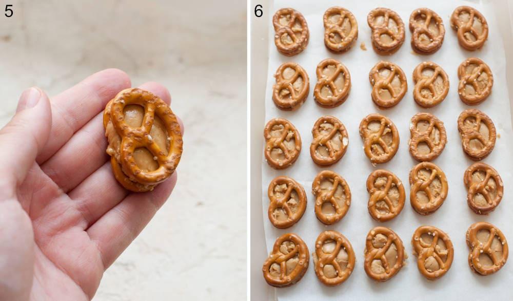 Sweetened peanut butter between two pretzels. Peanut butter pretzels on a tray lined with parchment paper.