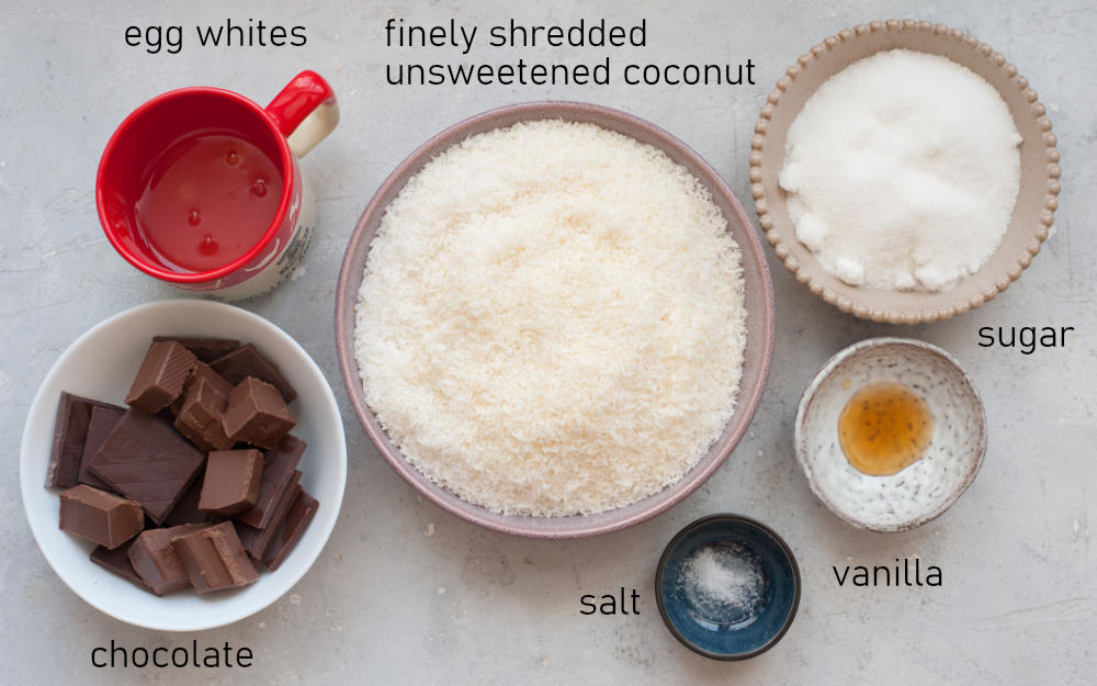 Labeled ingredients for chocolate dipped coconut macaroons.