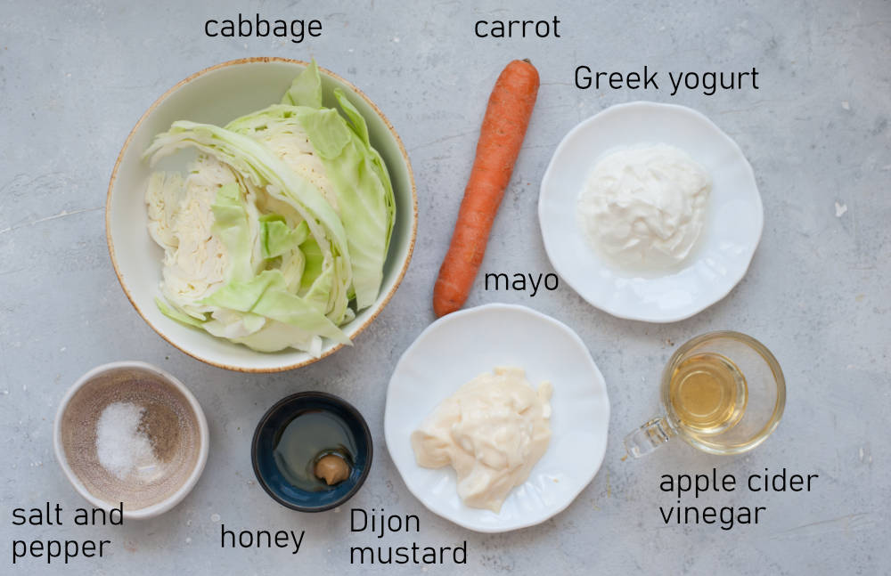 Labeled ingredients for a coleslaw.