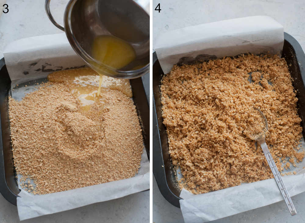 Butter is being added to graham cracker crumbs in a baking pan. Butter is being stirred with cookie crumbs.