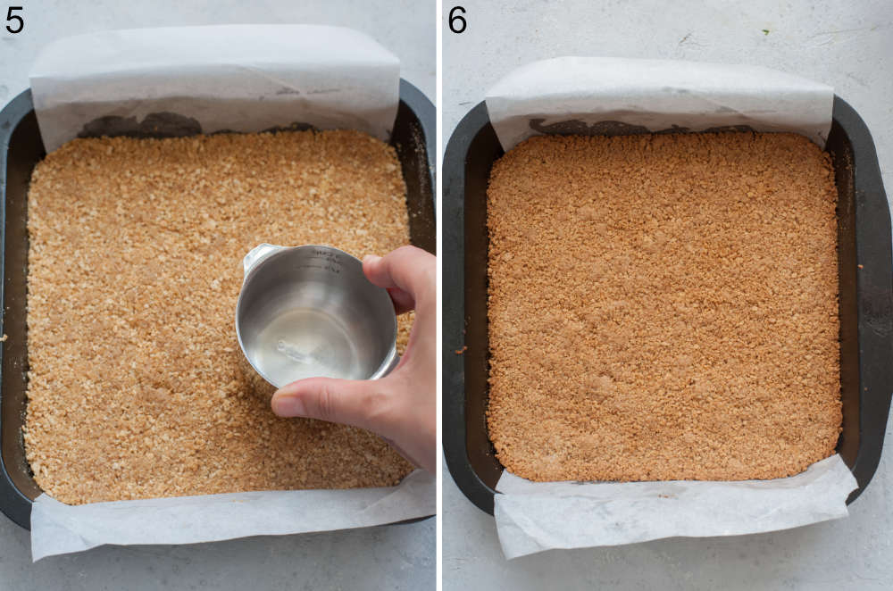 Cookie crumbs are being pressed with a measuring cup. Baked cookie crust in a baking pan.