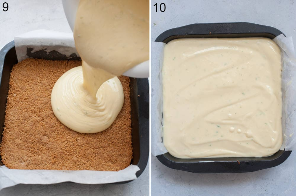 Key lime filling is being poured over a cookie crust. Key lime pie bars ready to be baked in a pan.