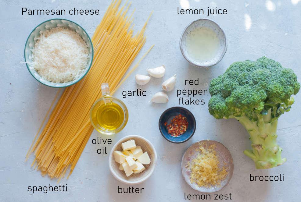 Labeled ingredients for lemon broccoli pasta.