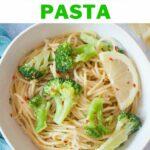 Lemon broccoli pasta pinnable image.