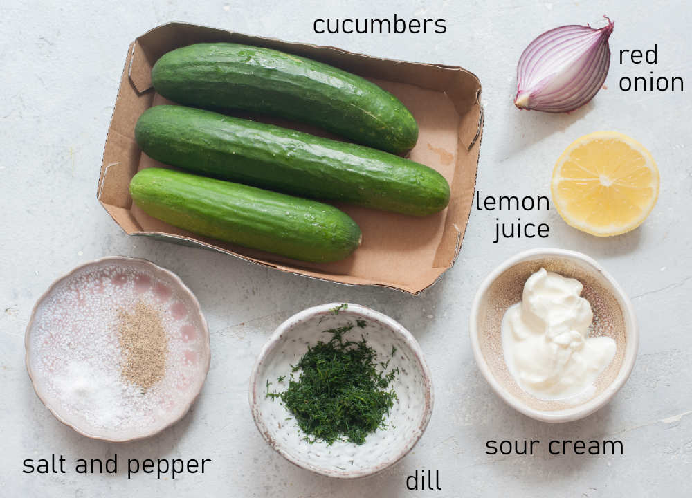 Labeled ingredients needed to make cucumber salad.
