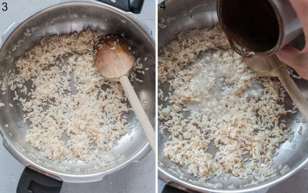 Sauteed onions and rice in pot. White wine is being added to a pot.