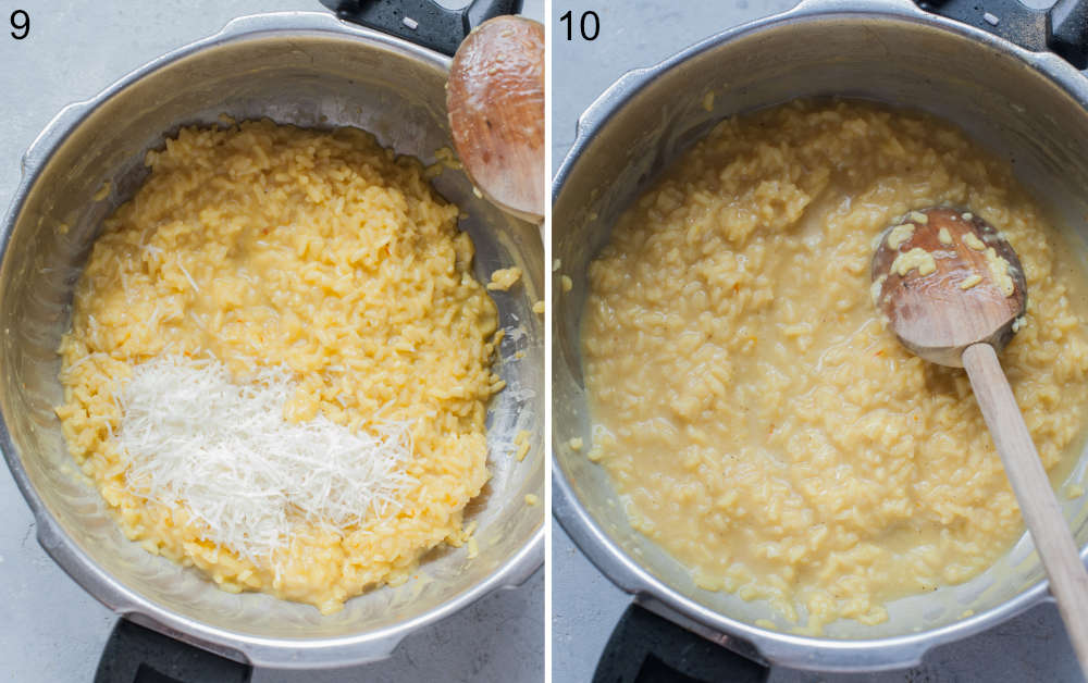 Saffron risotto and grated cheese in a pot.