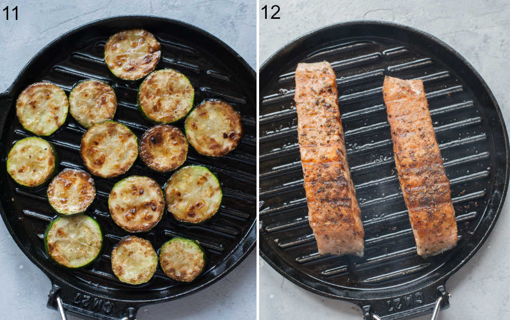 Zucchini and salmon fillets on a grill pan.