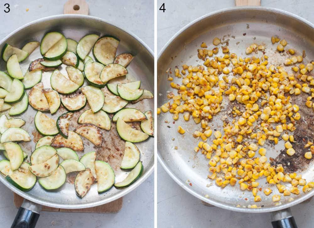 Sauteed zucchini in a pan. Sauteed corn and garlic in pan.