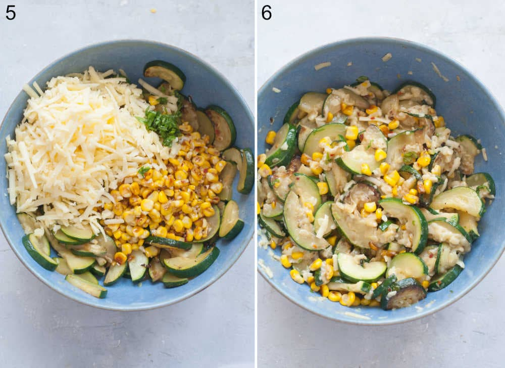 Sauteed zucchini, corn, and grated cheese in a blue bowl. Quesadilla filling in a bowl.
