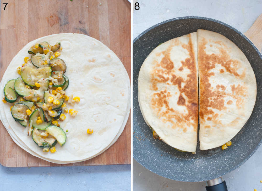 Tortilla with zucchini filling on top. Two quesadillas in a pan.