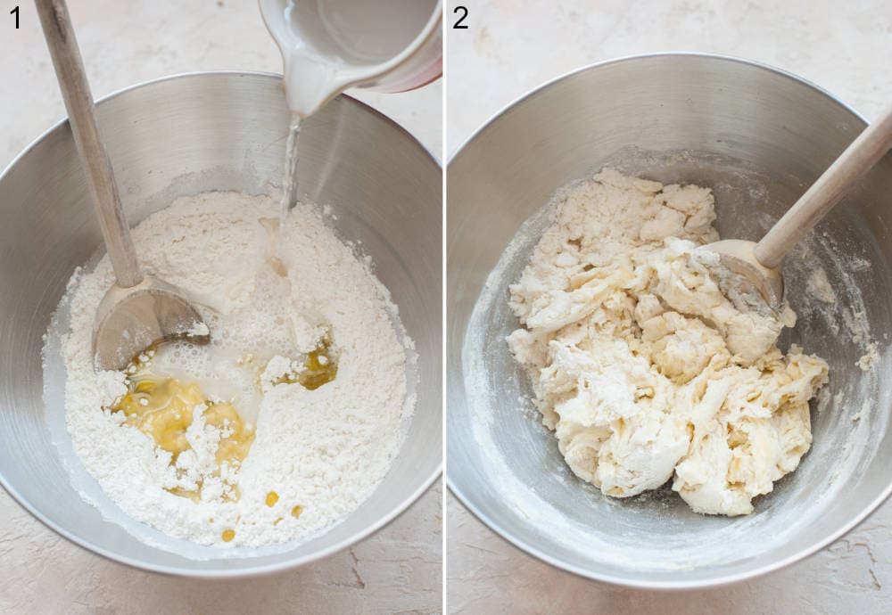 Olive oil, flour, salt, and warm water in a bowl. Dough is being stirred with a wooden spoon in a bowl.