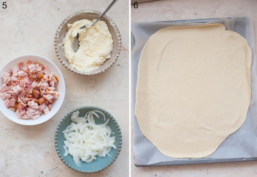 Creme fraiche, chopped bacon, sliced onions in bowls. Rolled out dough on a piece of parchment paper on a baking tray.
