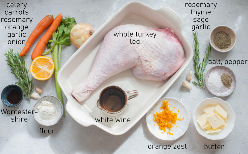 Labeled ingredients for roasted turkey leg with gravy.