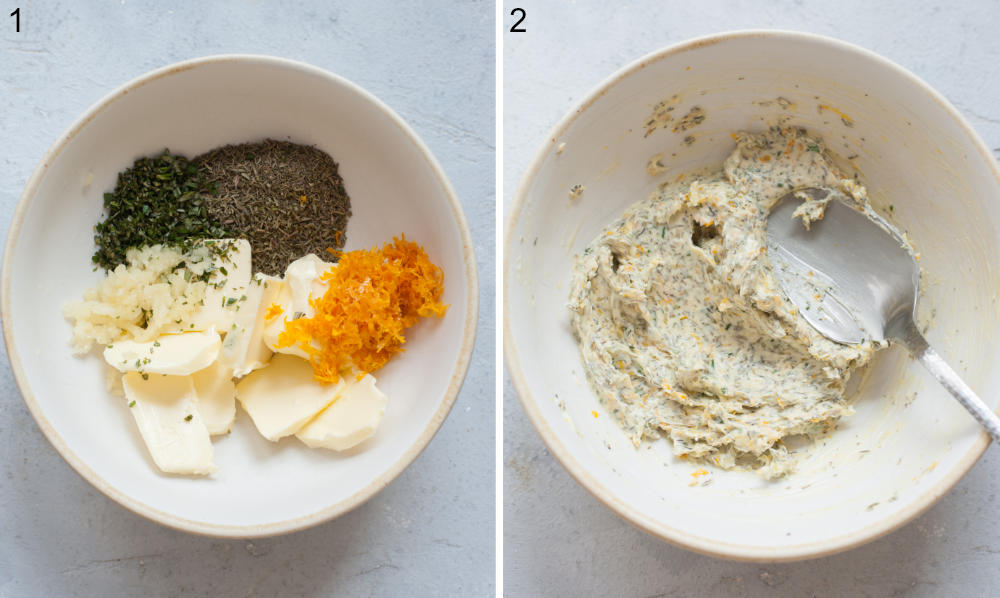 Butter, spices, and orange zest in a white bowl. Herb orange butter in a white bowl.