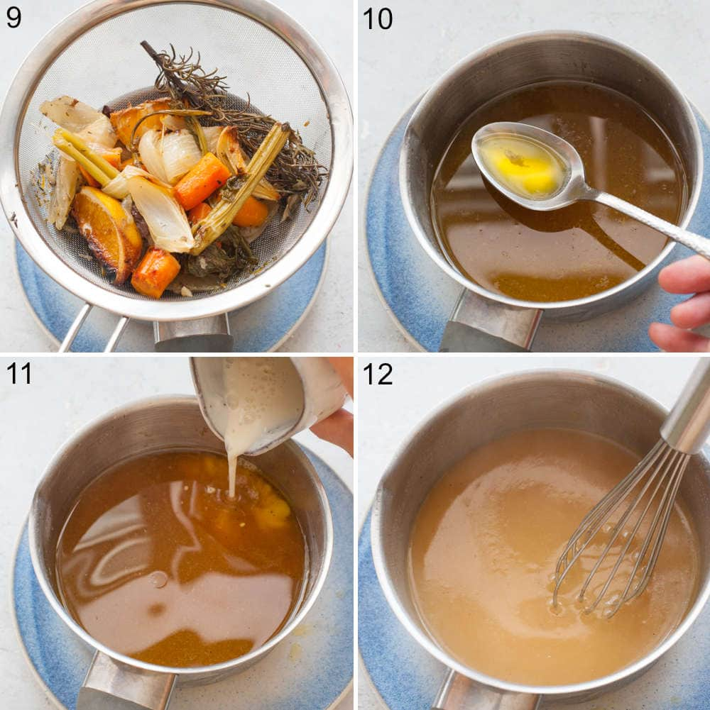 A collage of 4 photos showing how to make a gravy.