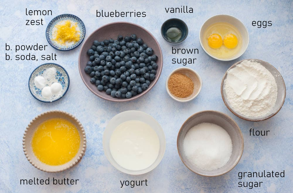 Labeled ingredients for blueberry muffins.