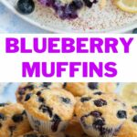 Blueberry muffins pinnable image.