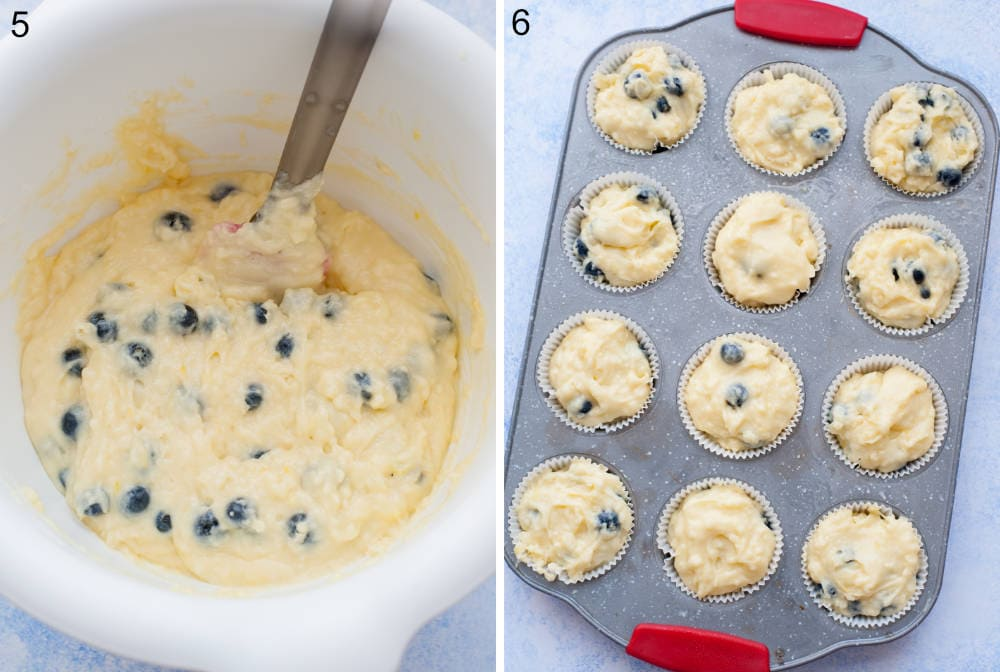 Blueberry muffin batter in a white bowl. Blueberry muffin batter in a muffin pan.