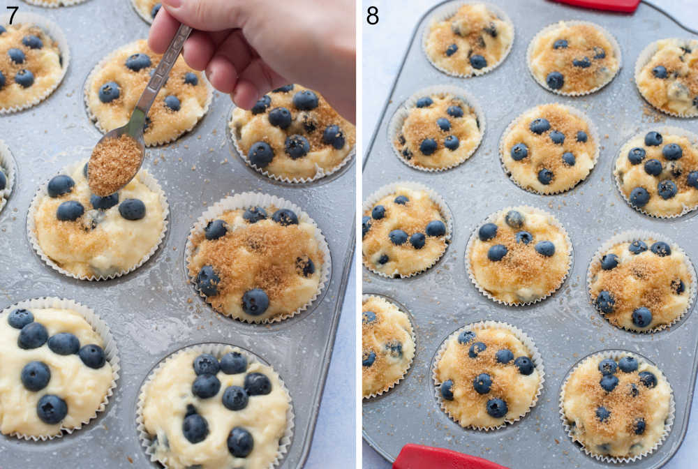 Blueberry muffin batter is being sprinkled with brown sugar. Blueberry yogurt muffins in a muffin pan ready to be baked.