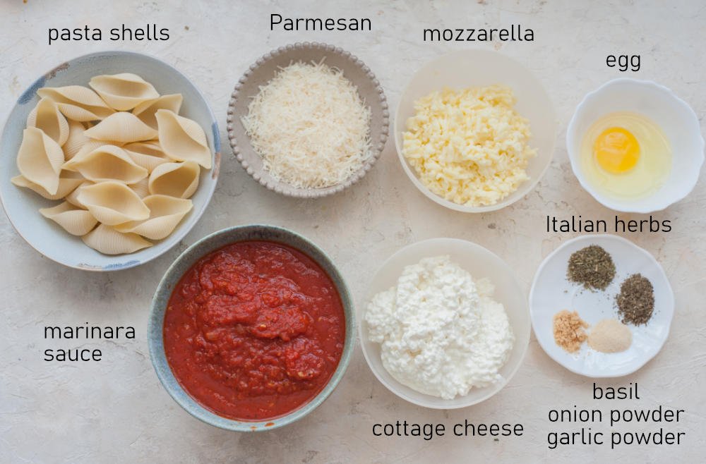 Labeled ingredients needed to prepare stuffed shells.