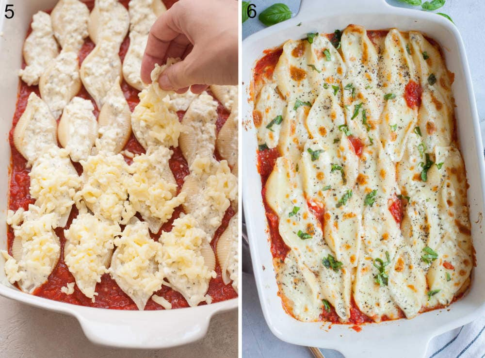Shells stuffed with cheese in a white baking dish are being sprinkled with mozzarella. Baked stuffed shells in a baking dish.