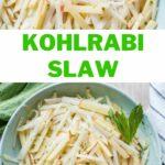 Kohlrabi slaw pinnable image.