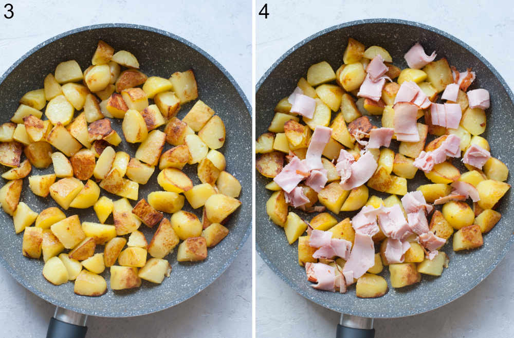 Sauteed potatoes in a pan. Potatoes and ham in a pan.