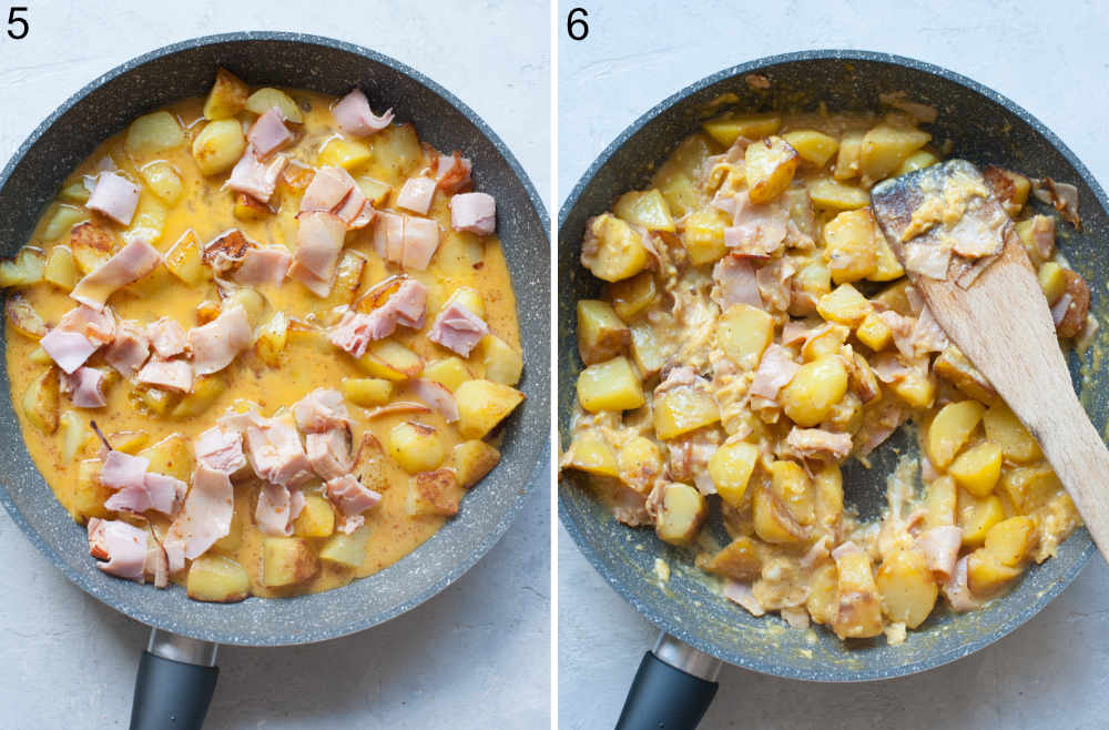 Potatoes ham and eggs are being cooked in pan.