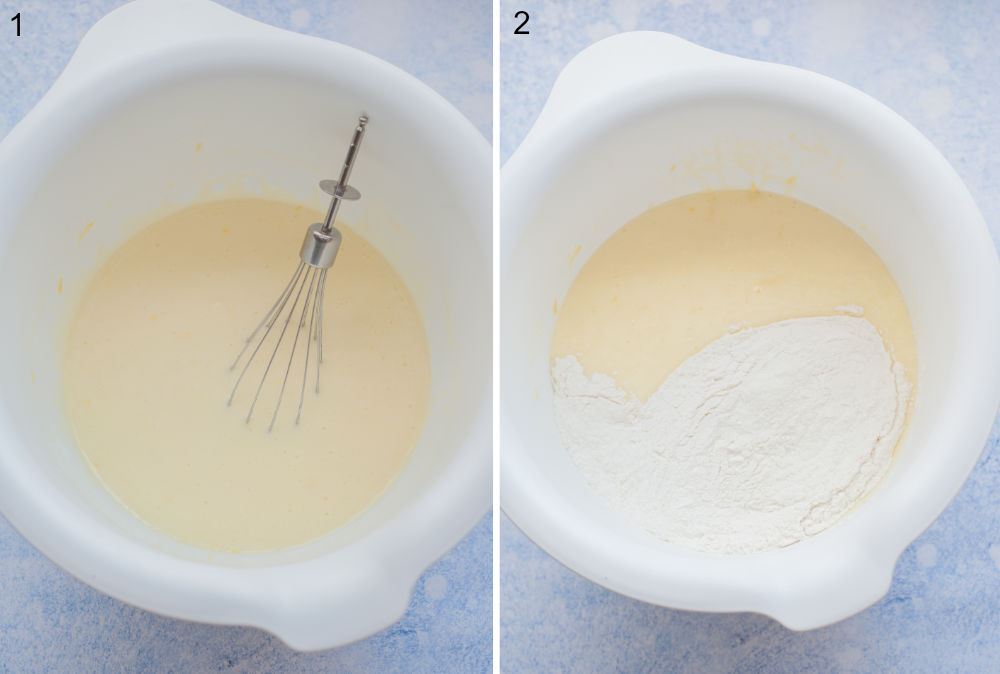 Wet ingredients for muffin batter in a white bowl. Wet ingredients and flour in a white bowl.