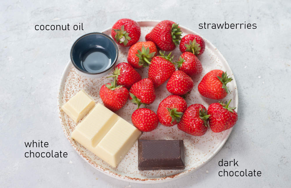 Labeled ingredients for strawberry ghosts.