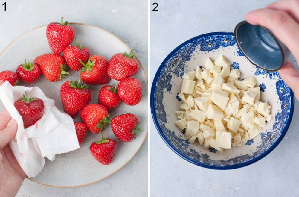 Strawberries are being cleaned with paper towel. Coconut oil is being added to white chocolate in a bowl.