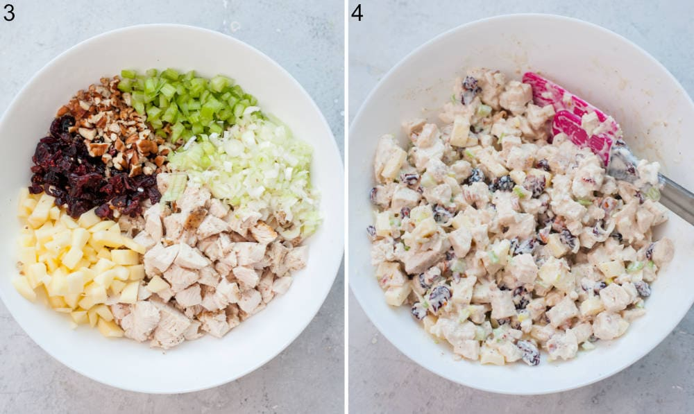 All ingredients for cranberry chicken salad in a white bowl. Chicken salad in a white bowl.