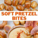 Soft pretzel bites pinnable image.