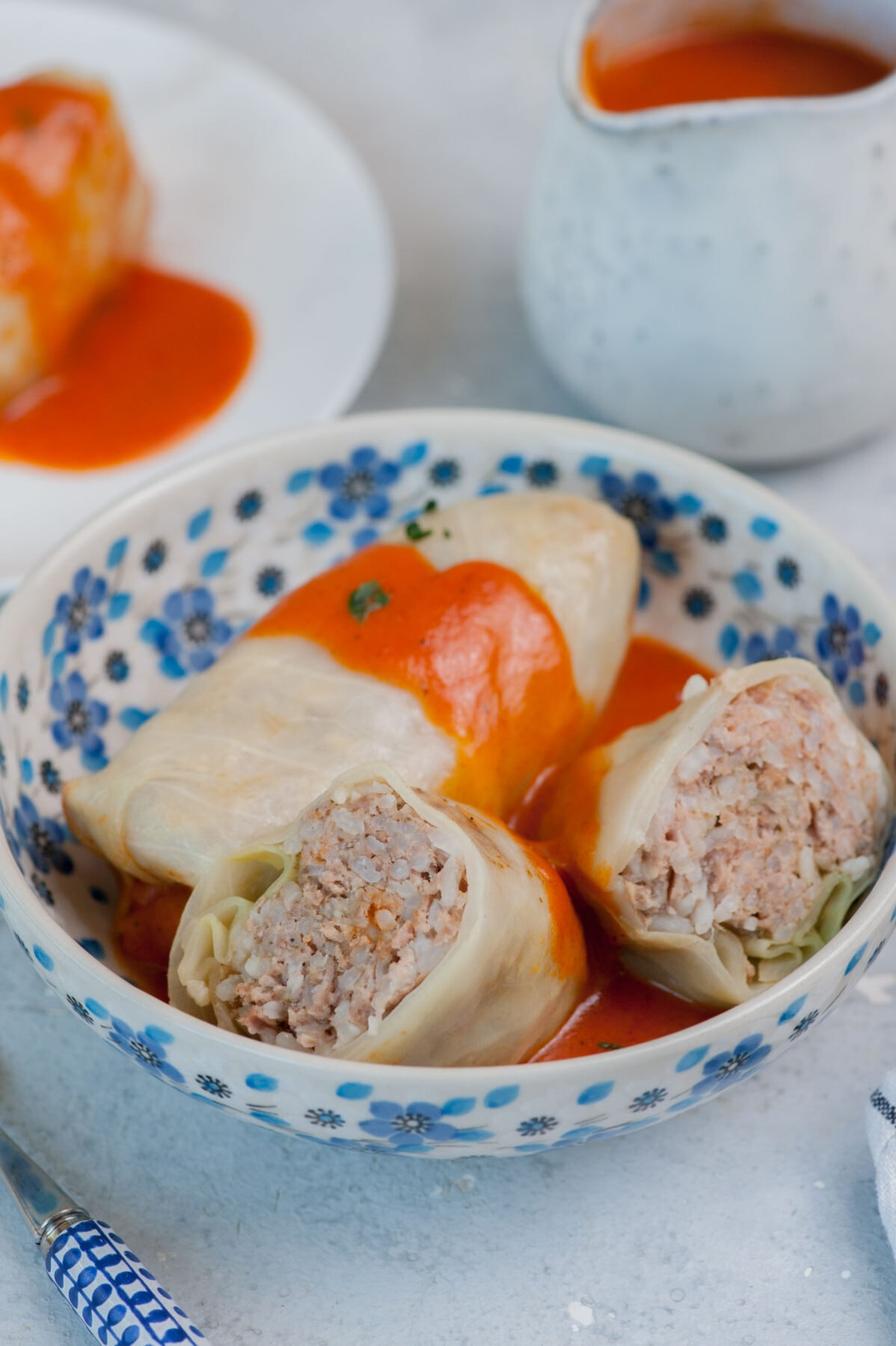 Stuffed cabbage rolls with tomato sauce in a white-blue bowl.