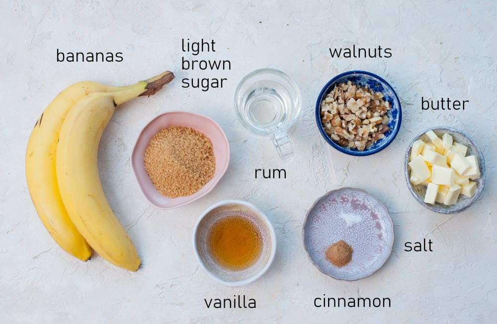 Labeled ingredients for bananas foster topping.