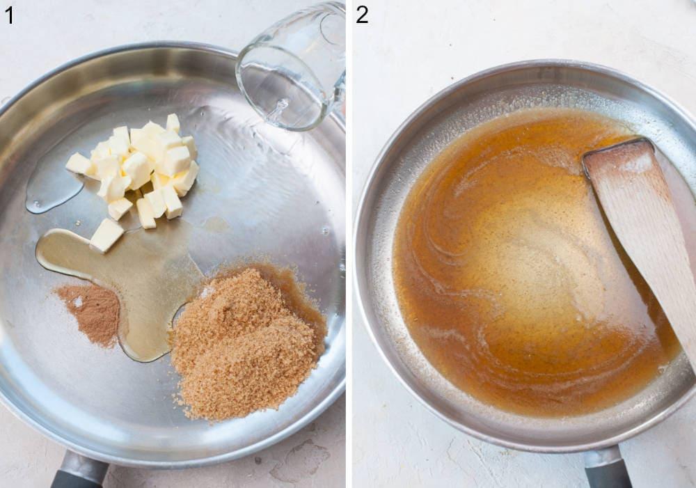 Rum, sugar, cinnamon and butter in a pan. Rum sauce in a pan.